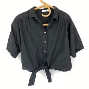 Mod Ref Black Crop Tie Front Elastic Back Top Sz L
